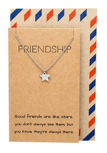 Ria Best Friend Necklaces with Star Pendant and Friendship Quotes Greeting Card, Silver - Quan Jewelry - 1