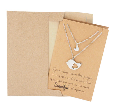 Mother and Daughter Bird's Heart Necklace Set for 2 - Quan Jewelry 4