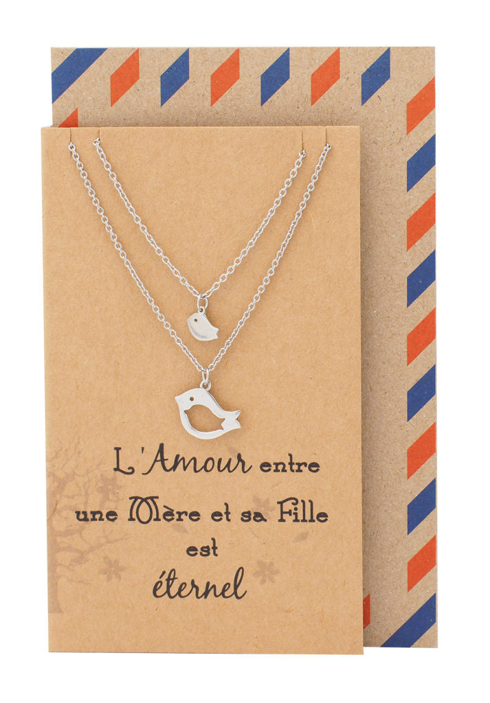 Adalene Mother Daughter Necklace, Gifts for Mom Bird Necklace Set for 2 with French Greeting Card - Quan Jewelry