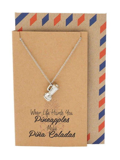 Diane Pineapple Necklace with Blender Charm Pendant for Women, Inspirational and Motivational Quote