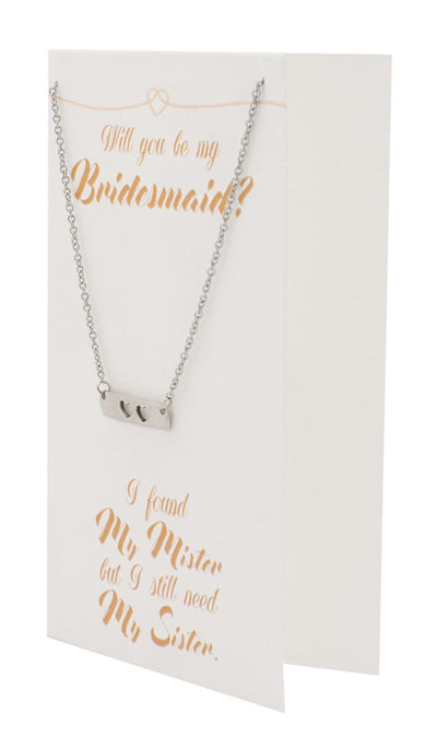 Juliet Two Hearts Bar Necklace for Bridesmaid