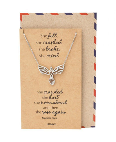 Brinley Phoenix Pendant Women Necklace, Bird Charm with Motivational Quote Card