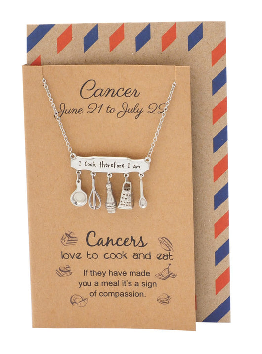Cancer Zodiac Birthday Cards Engraved Gifts for Mom Chef Cooks - Quan Jewelry 1