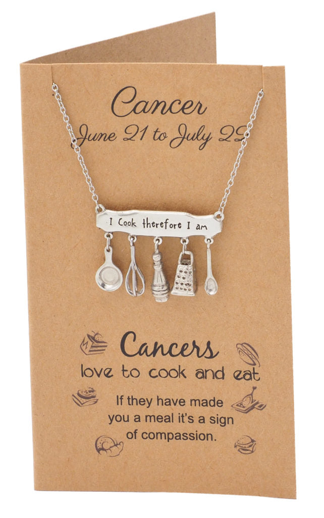 Cancer Zodiac Birthday Cards Engraved Gifts for Mom Chef Cooks - Quan Jewelry 2