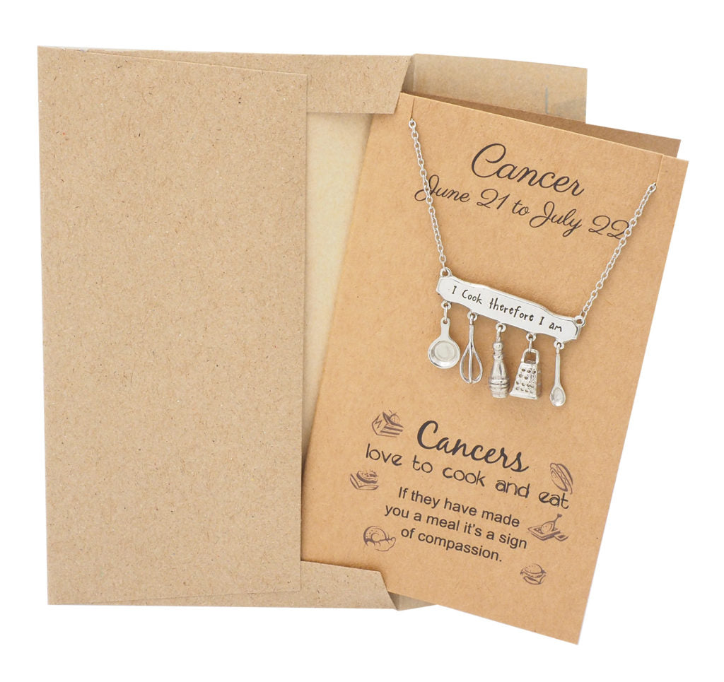 Cancer Zodiac Birthday Cards Engraved Gifts for Mom Chef Cooks - Quan Jewelry 4