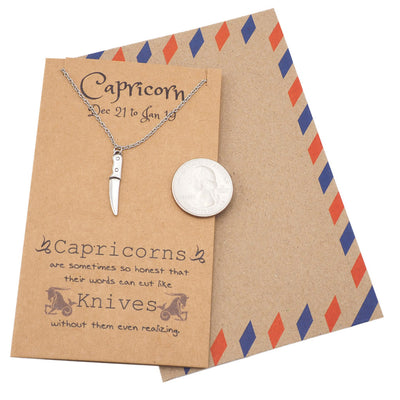 Riley Capricorn Birthday Cards Knife Necklace