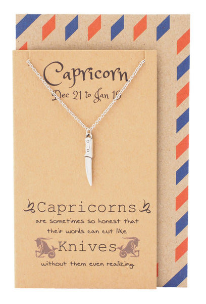 Capricorn Birthday Cards Knife Necklace - Quan Jewelry 1