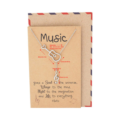 Cattleya Guitar Music Note Necklace with Treble Pendant, Gifts for Music Lovers