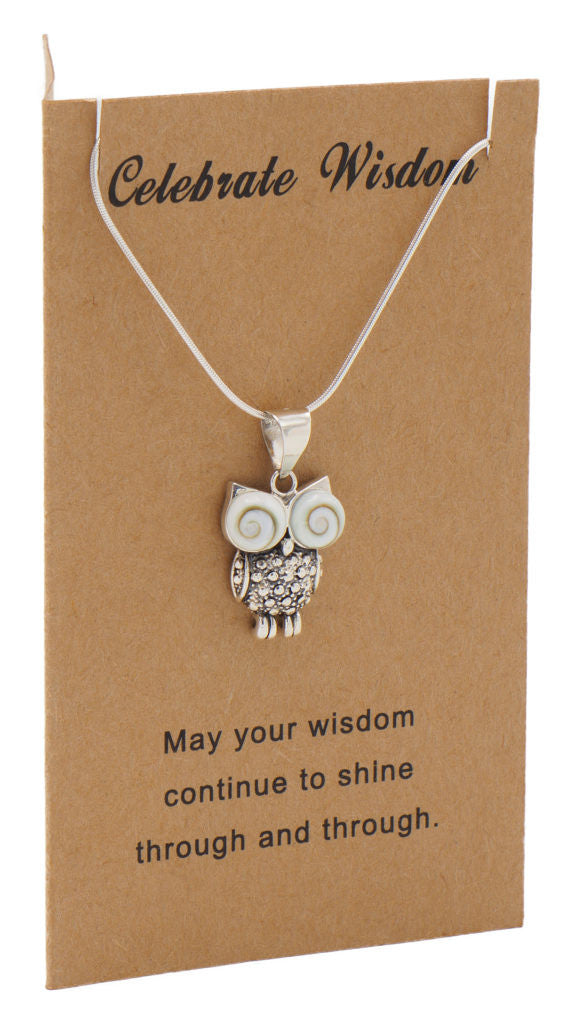 Ruth Owl Necklace Graduation Gifts and Cards with Wisdom Quotes,  - Quan Jewelry - 3