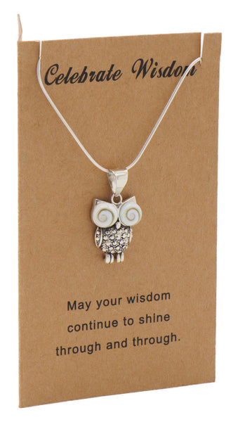 Ruth Owl Necklace Graduation Gifts and Cards with Wisdom Quotes,  - Quan Jewelry - 1