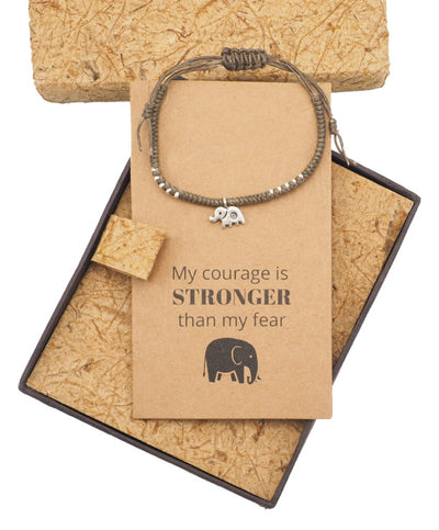 Wattana Lucky Elephant Courage Bracelet with Inspirational Quote Greeting Card