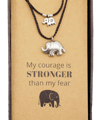 Lucie Elephant Necklace with 2 Elephant Pendants