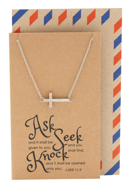 Eva Sideways Cross Necklace with Christian Birthday Card,  - Quan Jewelry - 1