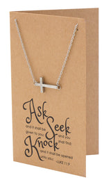 Eva Sideways Cross Necklace with Christian Birthday Card Baptism Gifts - Quan Jewelry