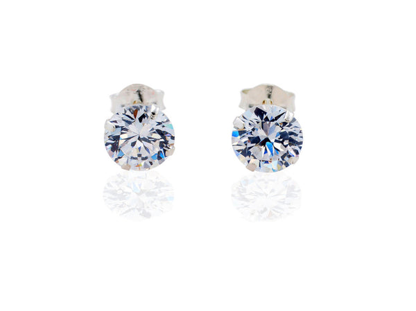 Chloe Cubic Zirconia Earrings, 7mm / Silver - Quan Jewelry - 1