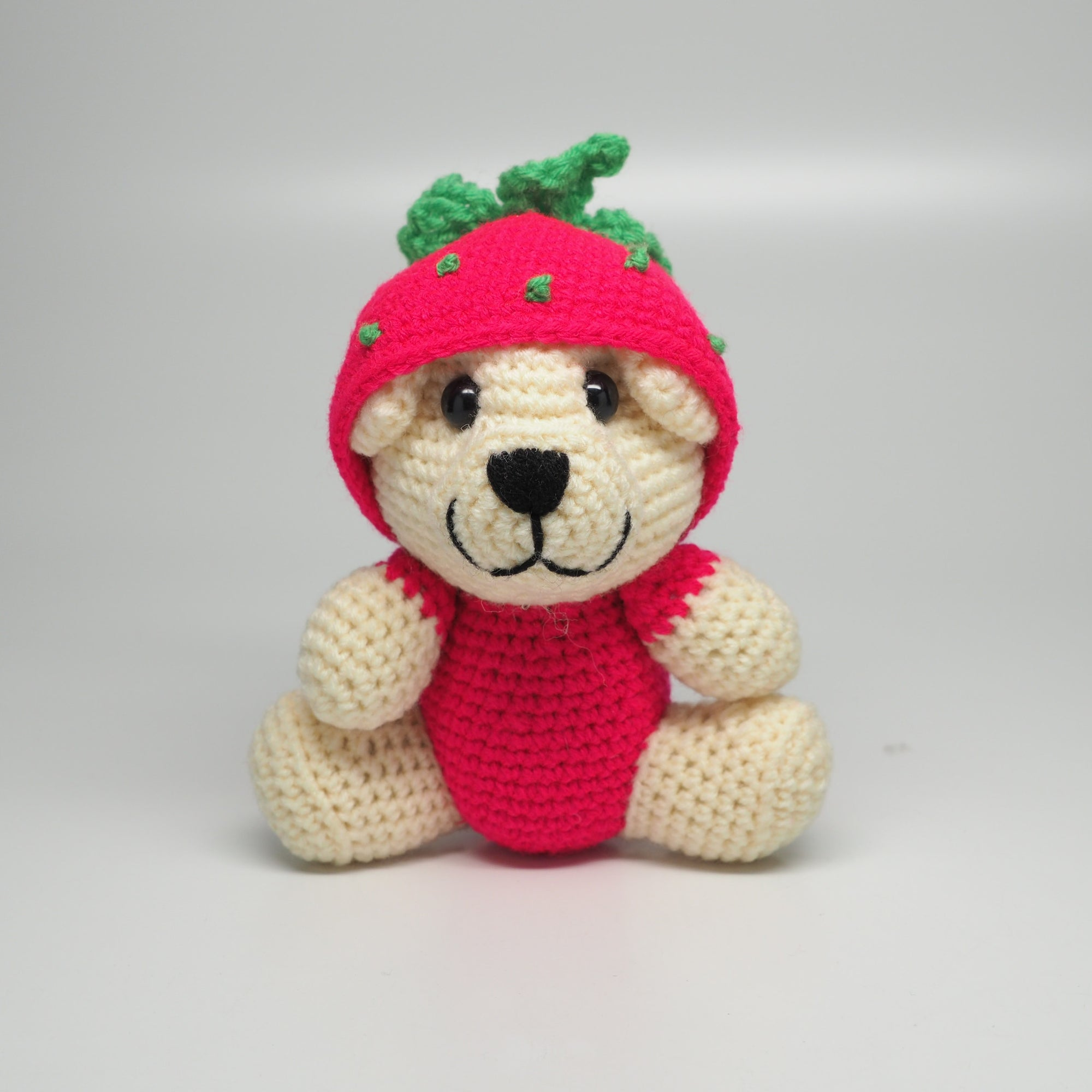 Strawbeary Crochet Teddy Bear - Quan Jewelry
