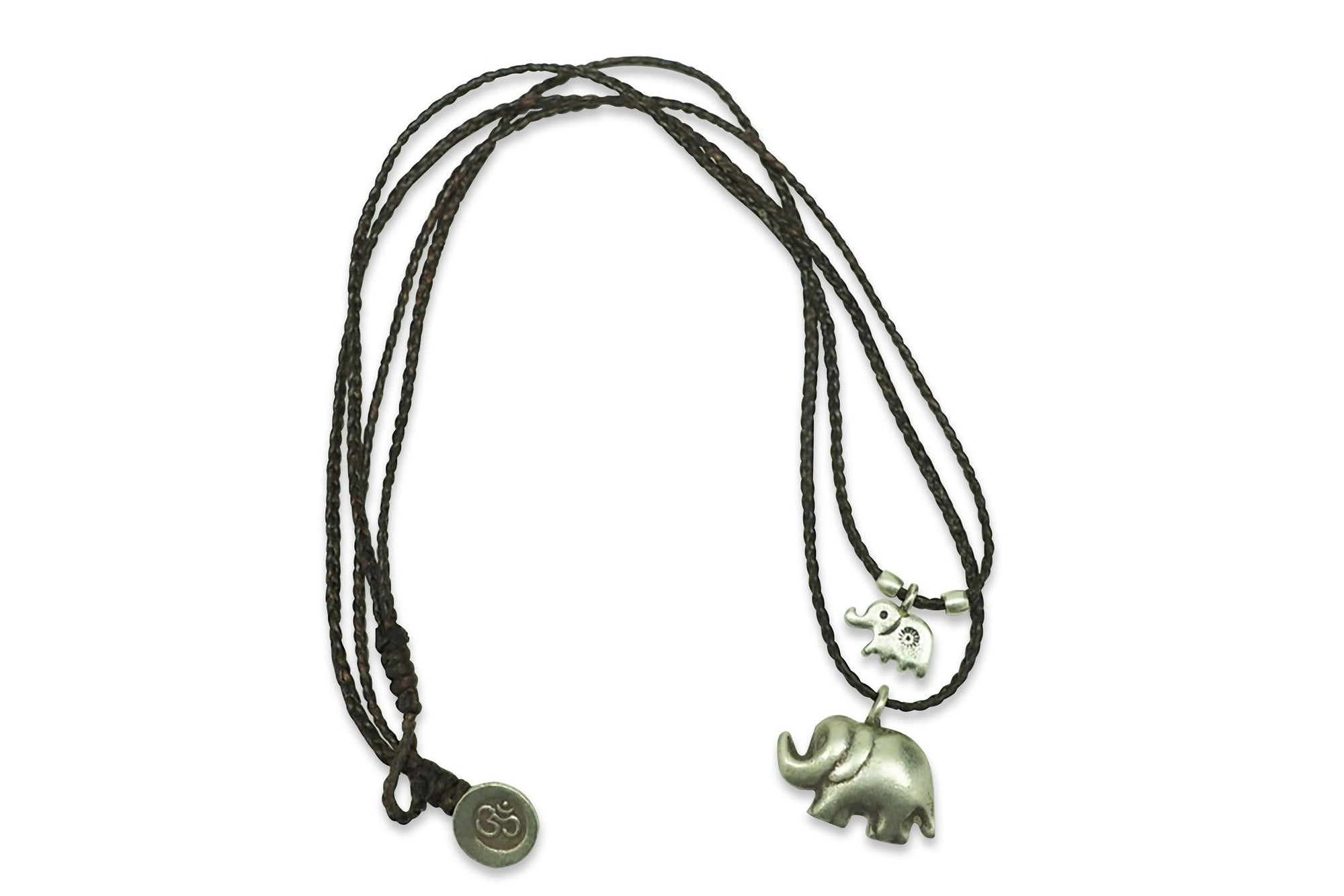 Lucie Elephant Necklace with 2 Elephant Pendants, Courage