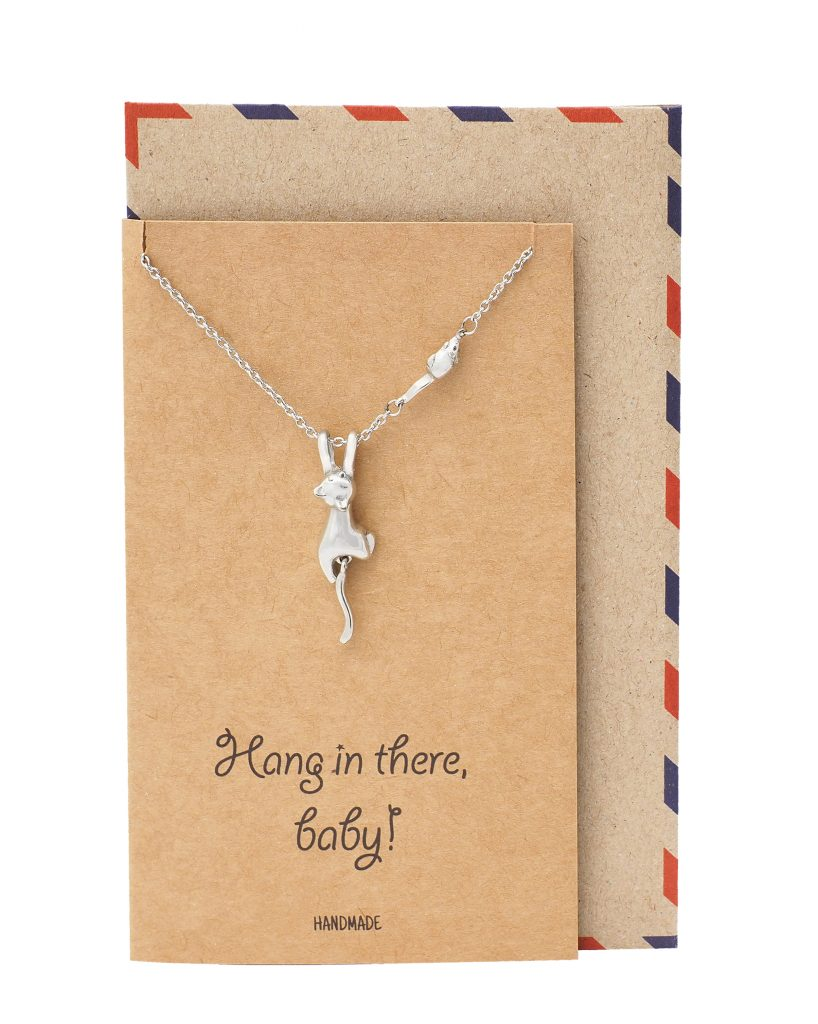 Emersyn Hanging Cat Pendant Necklace with Little Mouse, Gifts for Cat Lovers with Funny Greeting Card