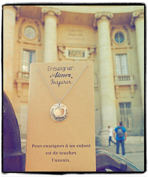 Alessandra Gifts for Teachers - Enseigner. Aimer. Inspirer. Necklace and Greeting Card