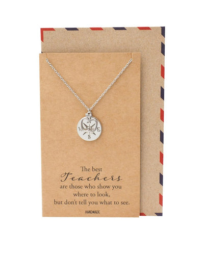 Everleigh Compass and Apple Pendant Necklace, Appreciation Gifts for Teachers with Greeting Card