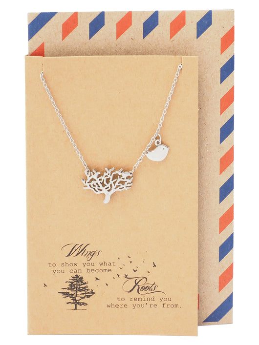 Marj Family Tree Necklace with Bird Charm Pendant and Greeting Card - 1