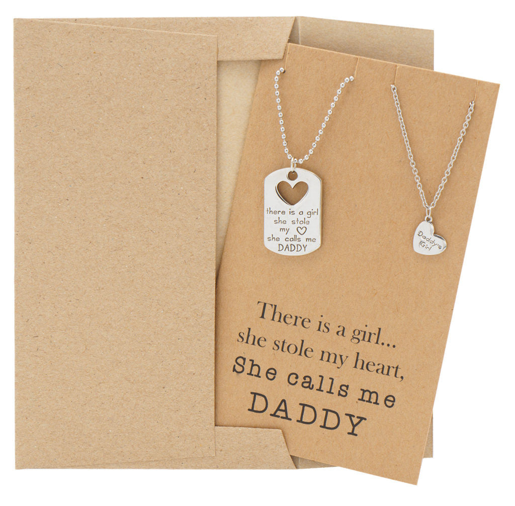 Mason Father Daughter Personalized Engraved Necklaces, Father's Day Card,  - Quan Jewelry - 6
