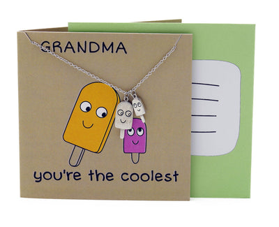 Icy Grandmother Necklace Funny Puns Gifts for Grandma, You're the Coolest - Quan Jewelry