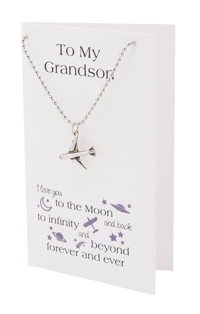 Fin Airplane Necklace, I Love You to the Moon and Back Grandson Gifts, Happy Birthday Cards - Quan Jewelry