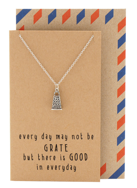 Vana Kitchen Charm Necklace, Funny Greeting Card, Gift for Chefs and Bakers, Silver - Quan Jewelry - 1
