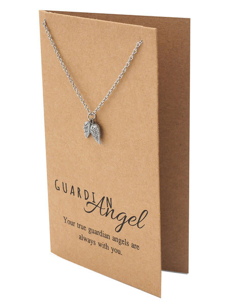 Cassiel Guardian Angel Wings Necklace, Silver - Quan Jewelry - 1