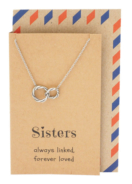 Sister Quotes Sister Necklaces with Interlocking Circles Pendant - Quan Jewelry 1