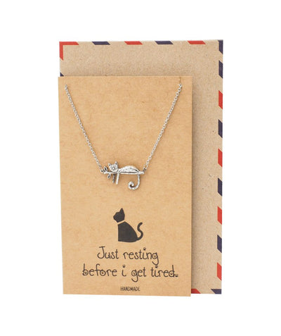 Hattie Resting Cat Pendant Necklace