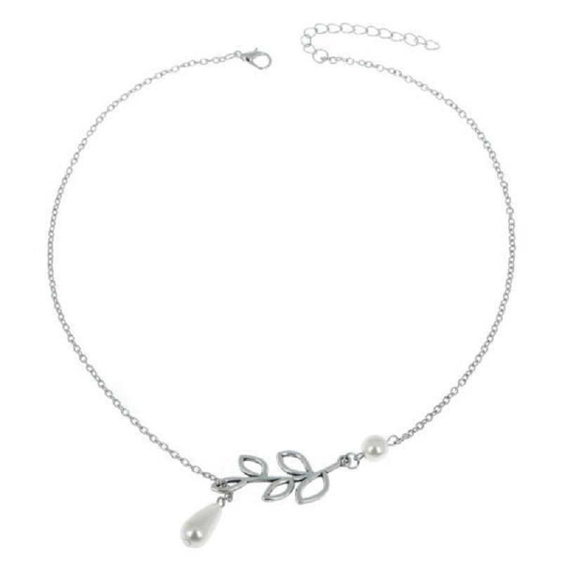 Alice Bridesmaid Gifts Leaf Pearl Pendant Lariat Necklace