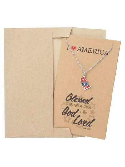Vi July 4th American Flag Pin I Love America Blessed is the Nation Whose God is the Lord Necklace