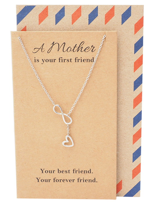Lorna Infinity Heart Lariat Mothers Necklace, Mothers Day Jewelry - Quan Jewelry