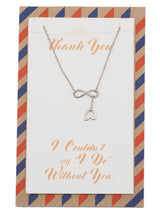 Camryn Infinity and Heart Lariat Necklace for Bridesmaid, Wedding Jewelry, with Thank you Quote - Quan Jewelry