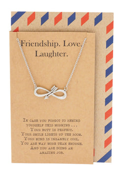 Infinity Arrow Friendship Necklace for Women with Inspirational Quote, Gift for Best Friends - Quan Jewerly 1