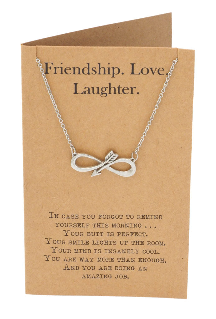 best website 5455a 2e610 Shannon Infinity Arrow Friendship Necklace for Women with Inspirational  Quote, Gift for Best Friends