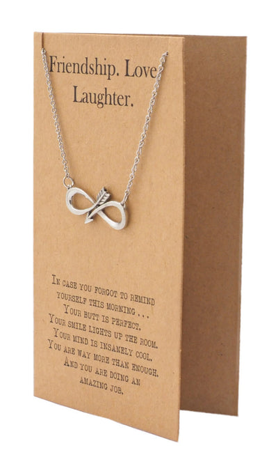 Shannon Infinity Arrow Friendship Necklace for Women with Inspirational Quote