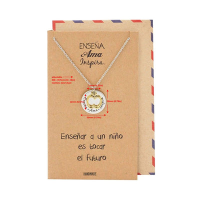 Isabella Teacher Appreciation Gifts, Teacher Inspired Jewelry Necklace with Spanish Greeting Card
