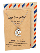 Jen Daughter Quotes I Love You to the Moon and Back Daughter Necklace, Silver - Quan Jewelry - 1