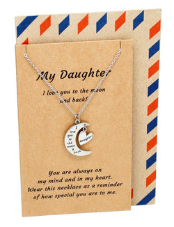 Jen Daughter Quotes I Love You to the Moon and Back Daughter Necklace - Quan Jewelry