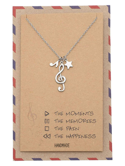 Juvy Treble Clef Pendant, Gifts for Music Lovers, Music Jewelry with Greeting Card
