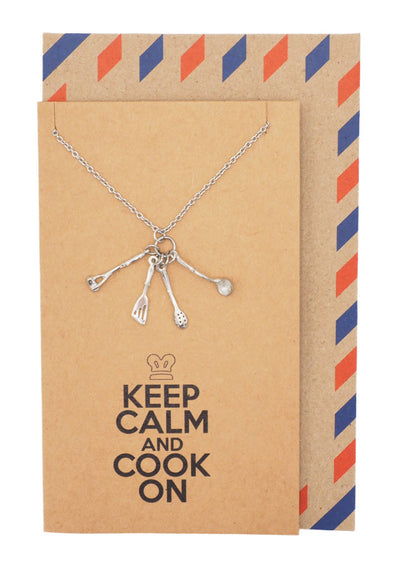 Gifts for Mom Dad Chefs Charm Necklace, Keep Calm Quotes Greeting Card - Quan Jewelry 1