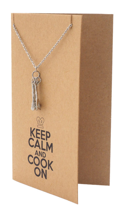 Gifts for Mom Dad Chefs Charm Necklace, Keep Calm Quotes Greeting Card - Quan Jewelry 4