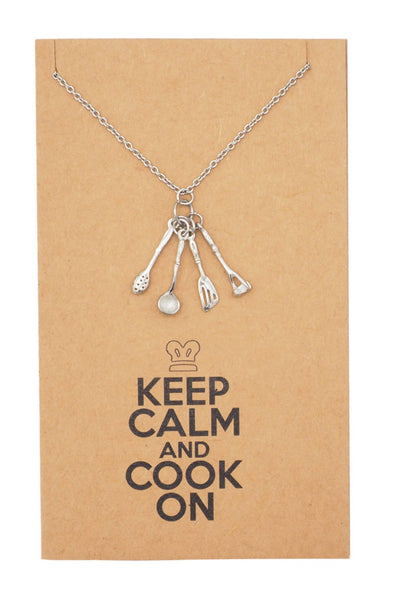 Gifts for Mom Dad Chefs Charm Necklace, Keep Calm Quotes Greeting Card - Quan Jewelry 5