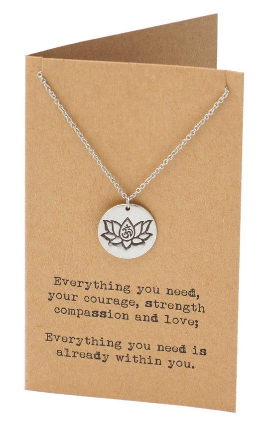 Natasha Yoga Necklace With Lotus Flower And Om Symbol Engraved On A