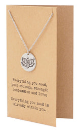 Natasha Yoga Necklace with Lotus Flower and OM Symbol Engraved on a Circle Pendant, Gifts for Women