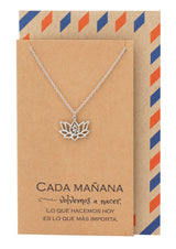 Connie Yoga Jewelry, Lotus Flower Om Necklace with Spanish Yoga Quotes - Quan Jewelry