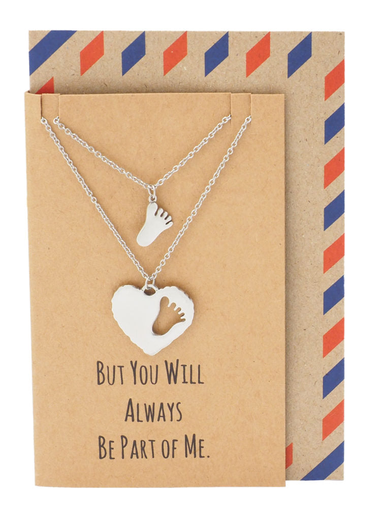 Geelin Mother Daughter Footprint and Heart Necklace, Gifts for Moms, comes with Inspirational Quote - Quan Jewelry